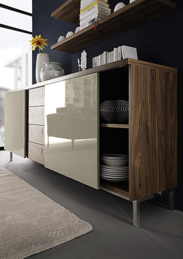 Contemporary Sideboard Walnut Glossy Lacquered Wood