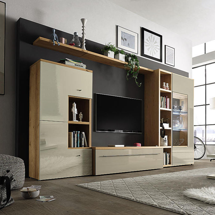 Contemporary Tv Wall Unit Wooden Glass Now Time