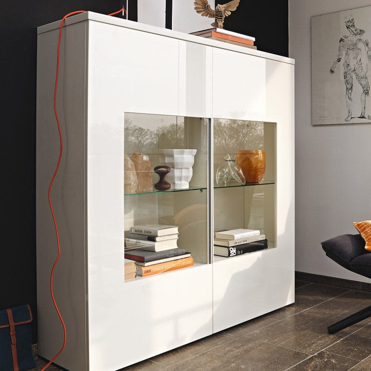 Contemporary Display Case Lacquered Wood Glass Now