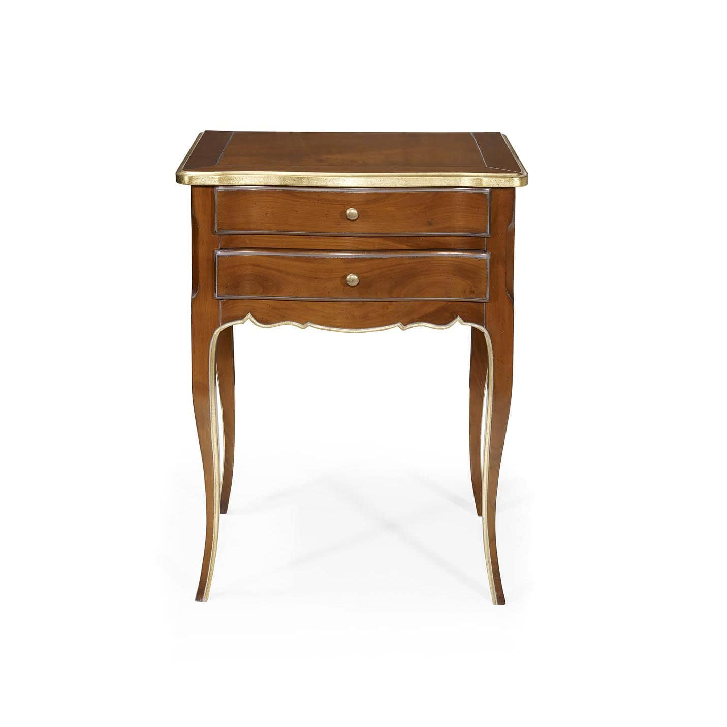 French Style Bedside Table Oak Mahogany Leather