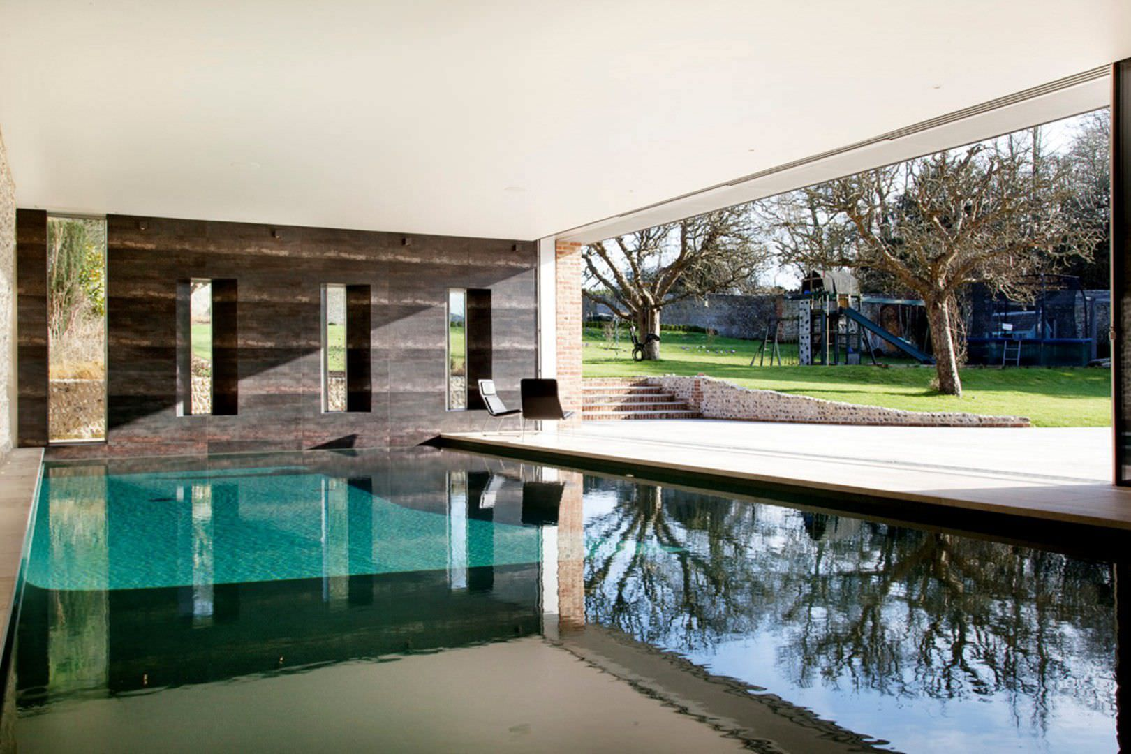 Garden With Swimming Pool in-ground swimming pool - east sussex - guncast swimming