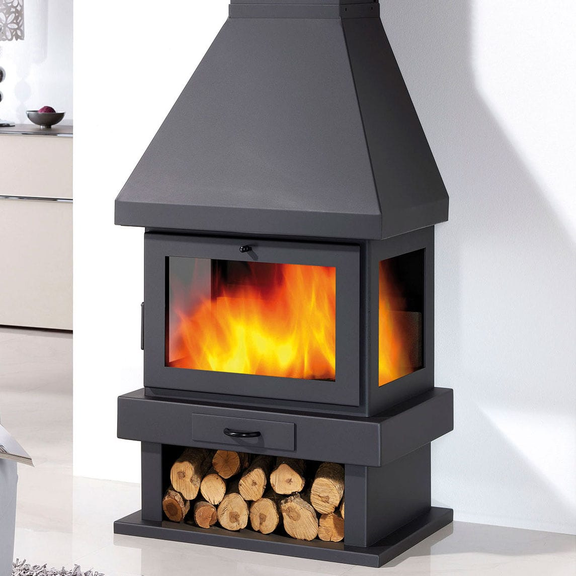 Wood Burning Fireplace Canada Panadero Contemporary Closed Hearth 3 Sided