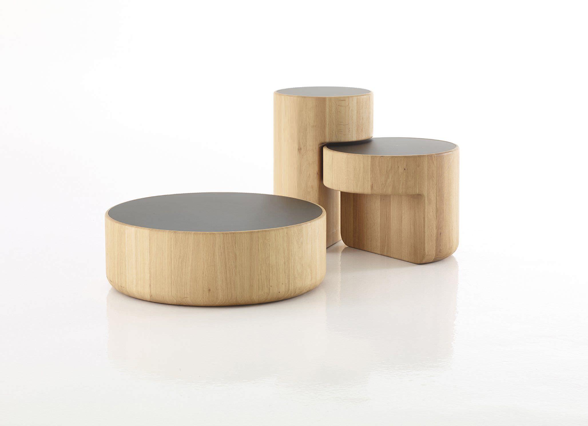 Dan Yeffet & Lucie Koldova contemporary nesting tables / oak / solid wood / glass