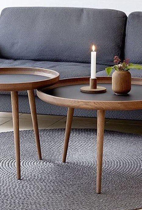 Scandinavian Design Coffee Table Applicata Wooden Round