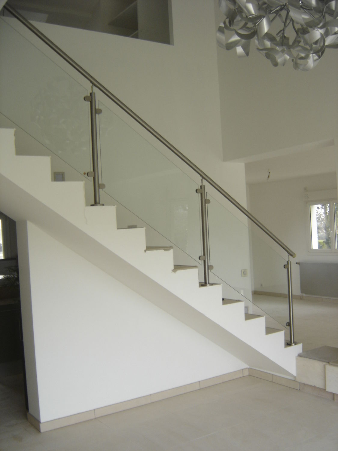 Garde Corps Metal Design stainless steel railing / glass panel / indoor / for stairs