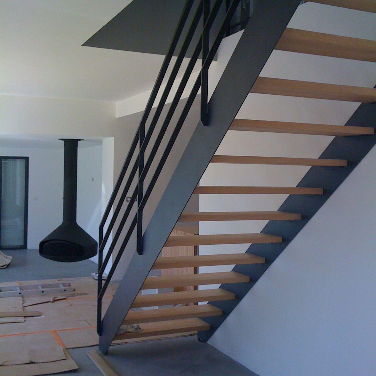 Escalier Bois Metal Noir straight staircase / quarter-turn / metal frame / wooden