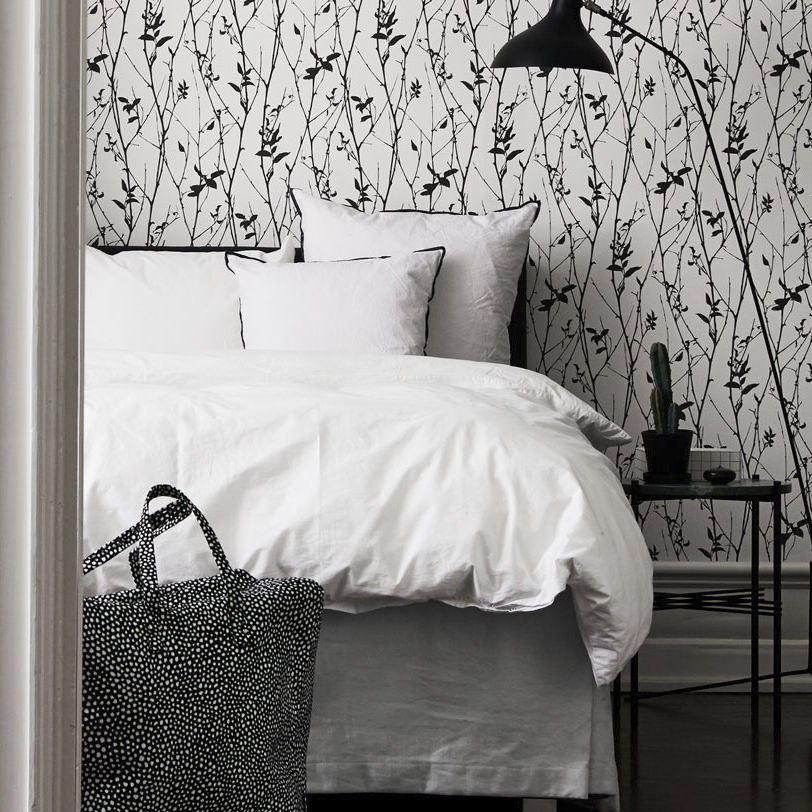 Contemporary Wallpaper Nature Pattern White Black