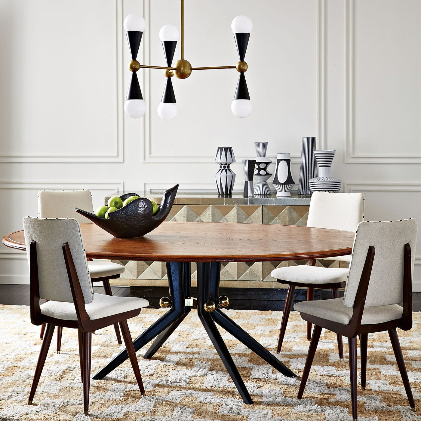 Contemporary Dining Table Solid Wood Veneer Br