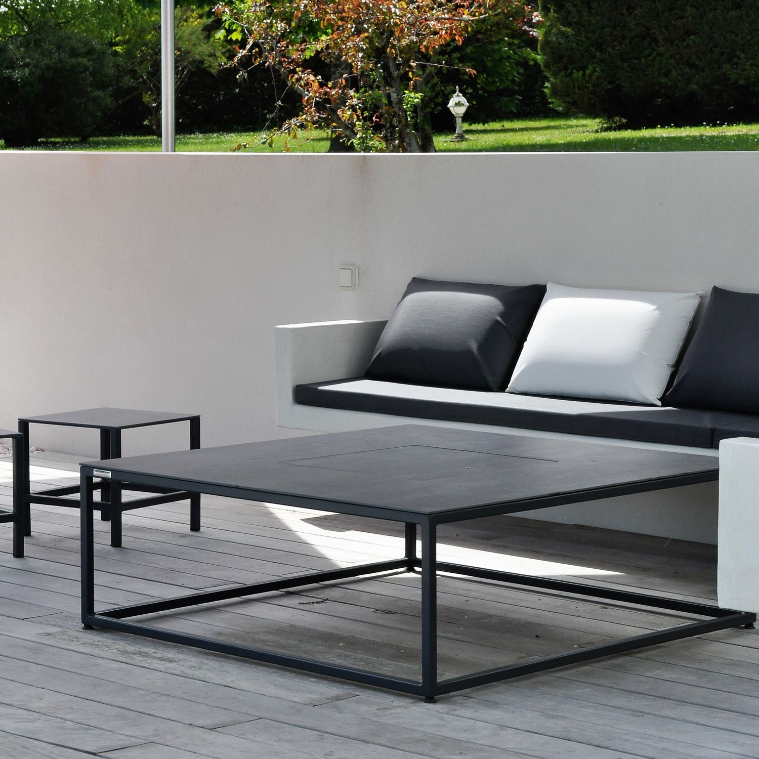 Contemporary coffee table / stainless steel / square / garden ...