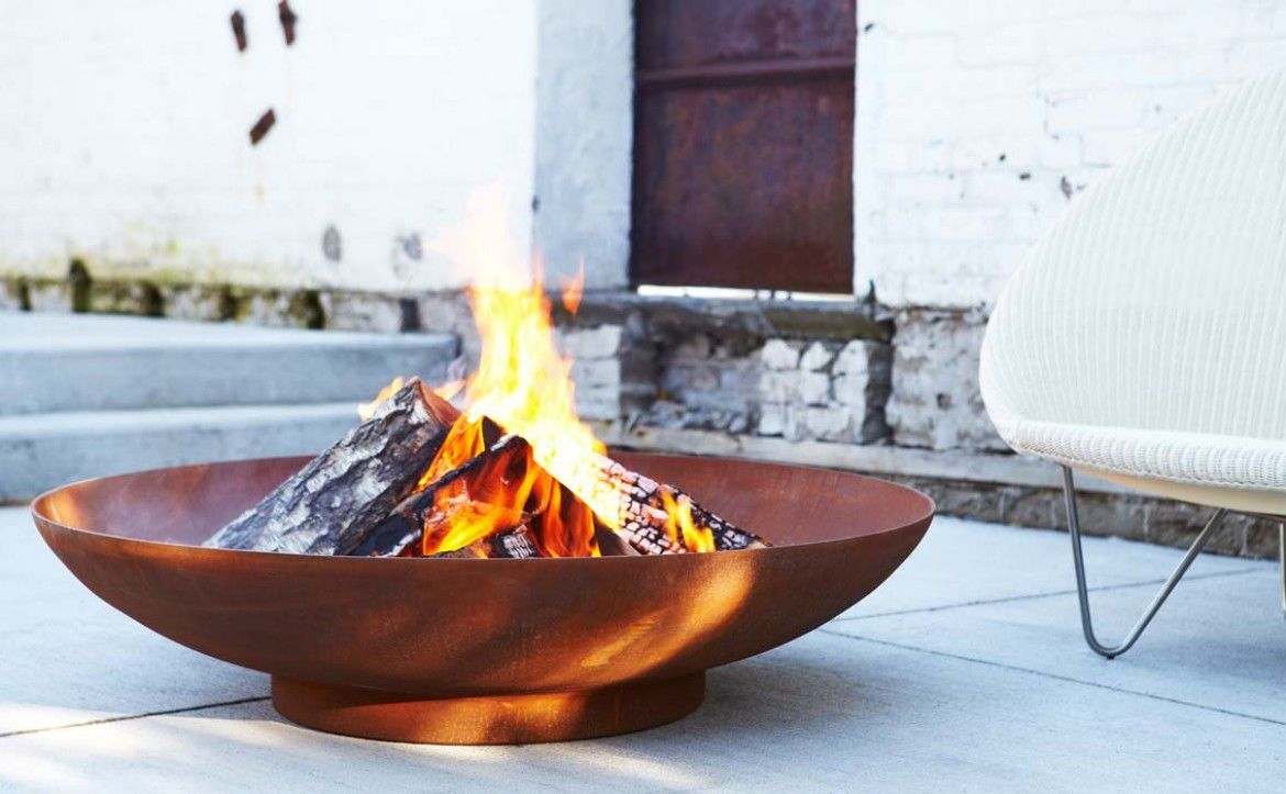Wood Burning Fire Pit Gas Cor Ten Steel Contemporary