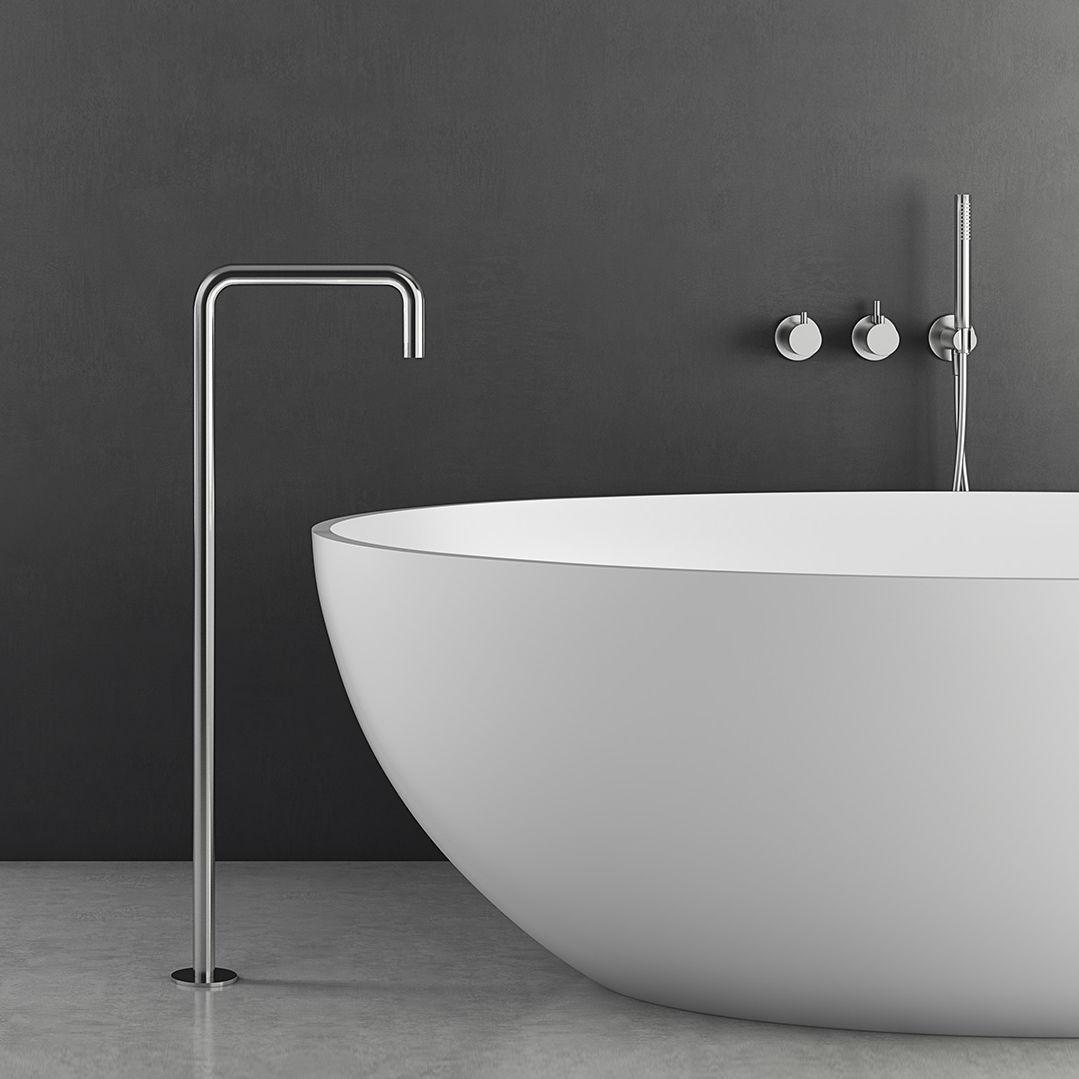 Bathtub Mixer Tap Como 06 Vallone Floor Mounted Stainless