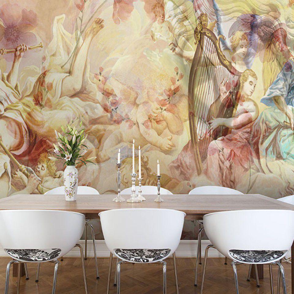 Art Nouveau Style Wallpaper Vinyl Polyester Floral Pattern