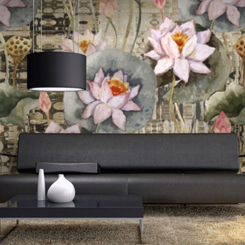 Contemporary Wallpaper Vinyl Floral Nature Pattern