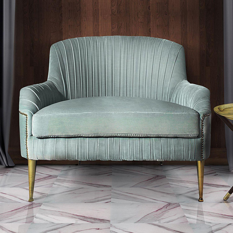 Art Deco Armchair Velvet Brass Greta Ottiu