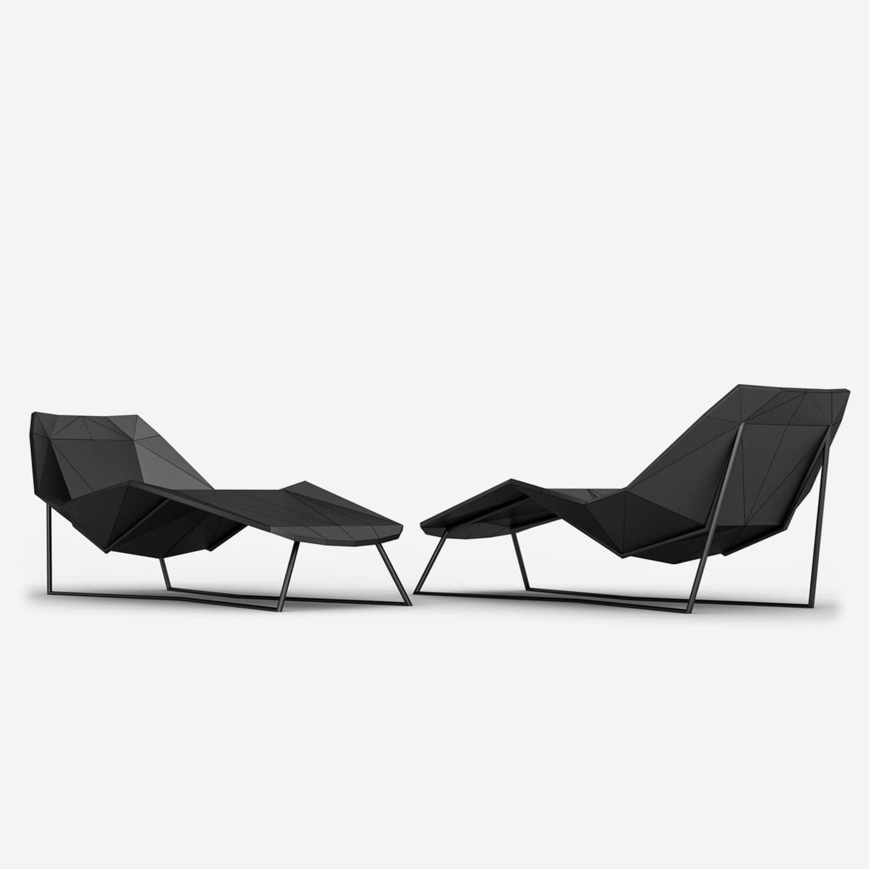Original Design Chaise Longue Leather Aluminum Lotus By Arketipo