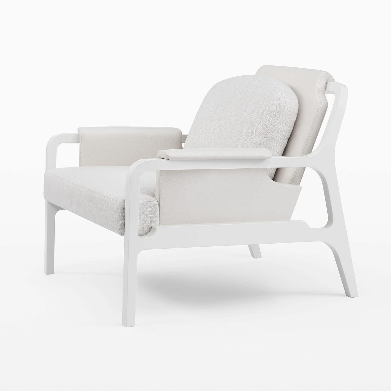 Contemporary armchair / walnut / fabric / leather - FERGUS ...