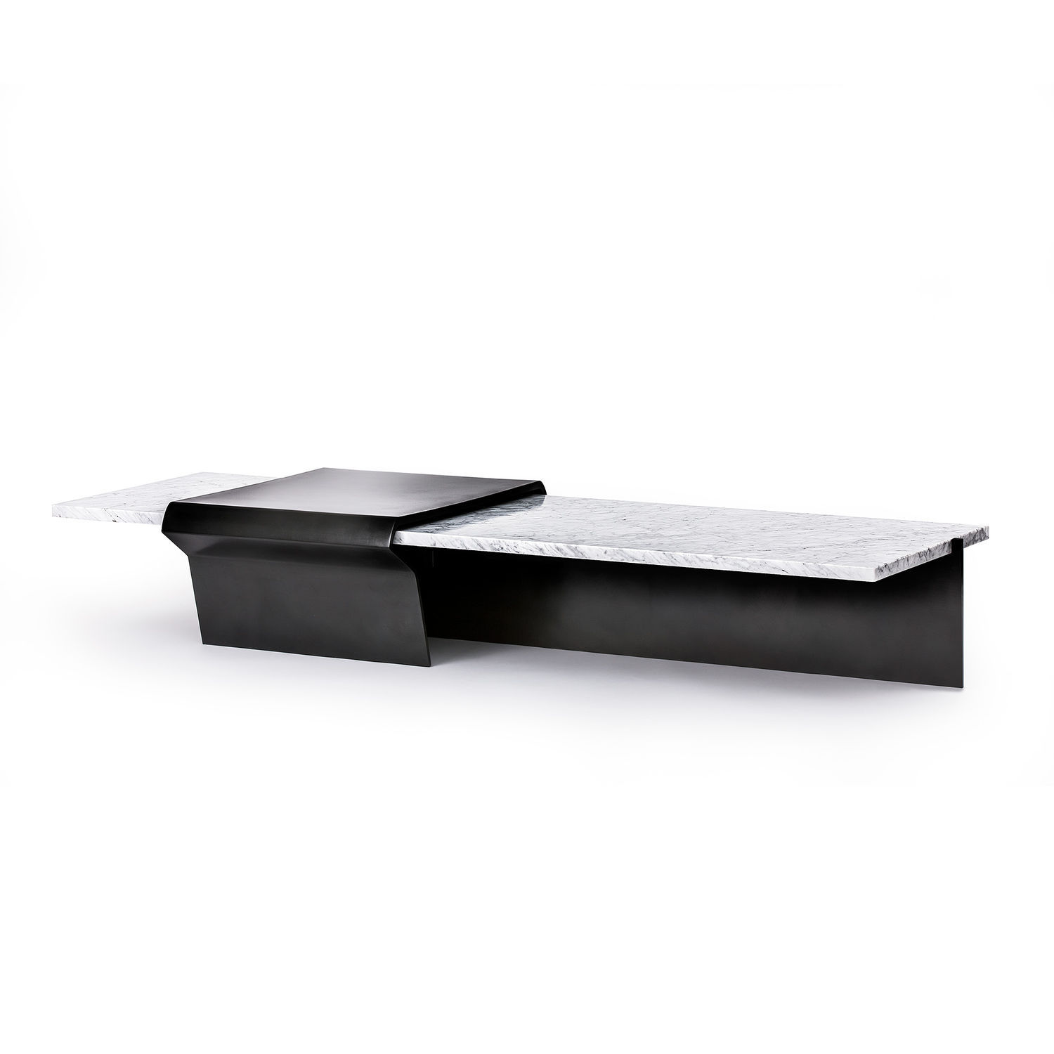Contemporary Coffee Table Marble Bronze Rectangular Nissler Tail