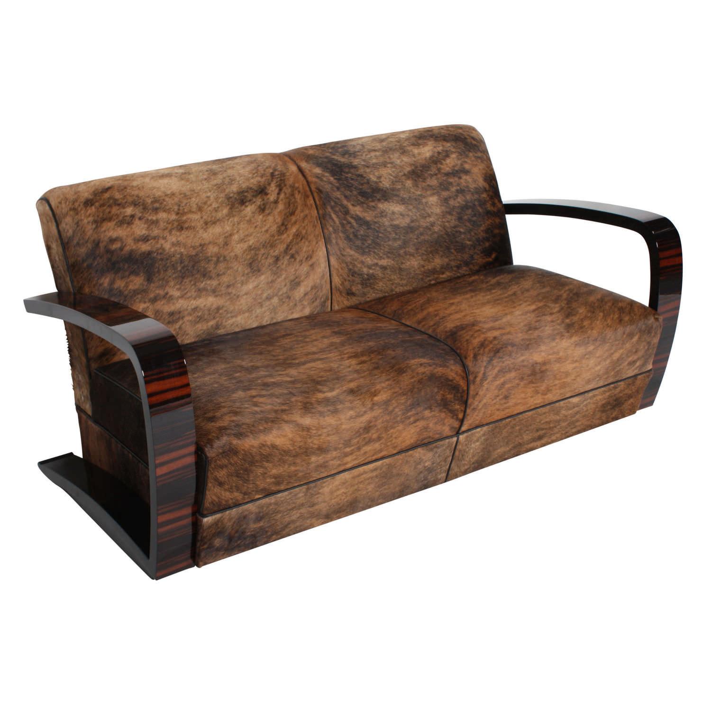 Art Deco Sofa Leather Fabric 3 Seater Sf023