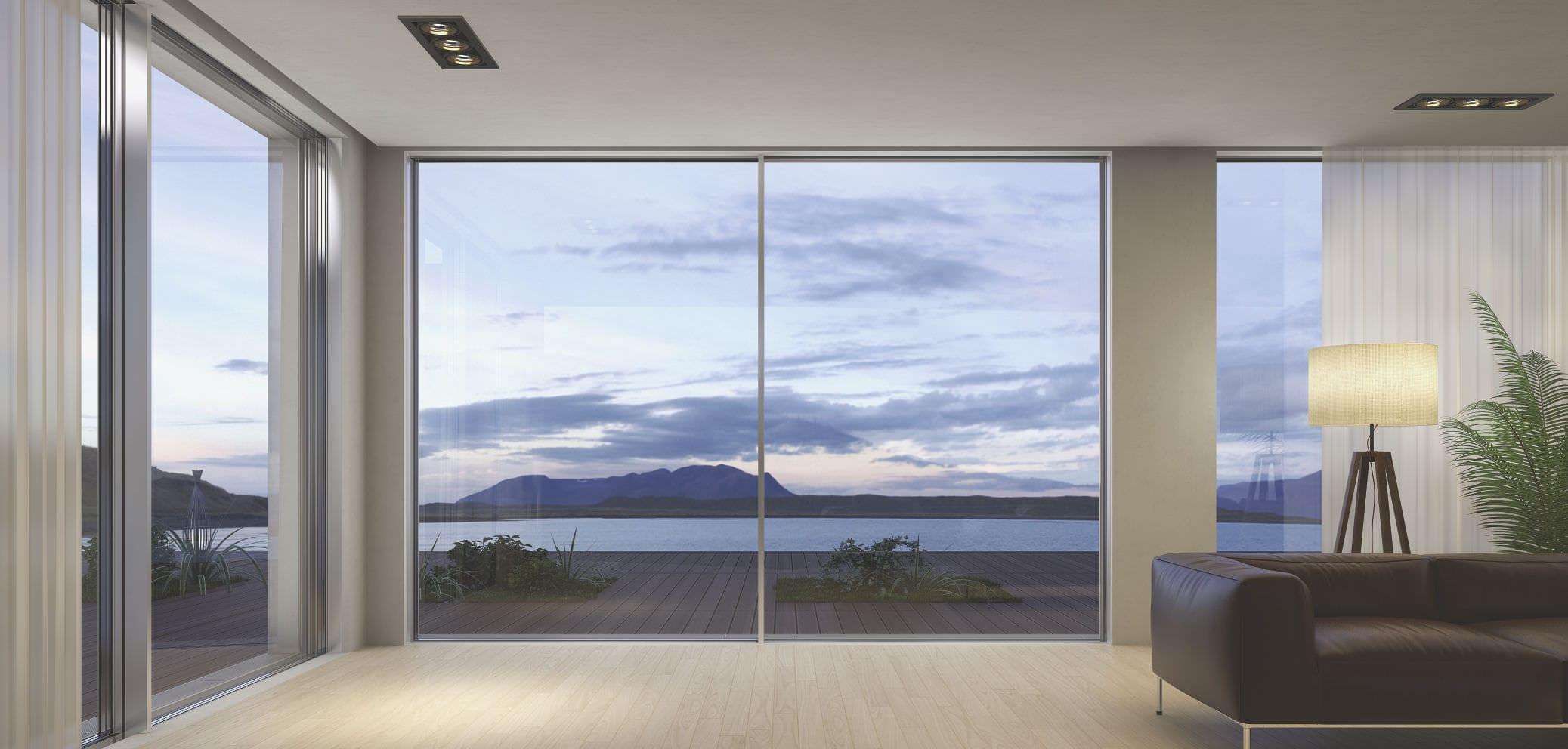 Sliding Patio Door Aluminum Triple Glazed Fluo