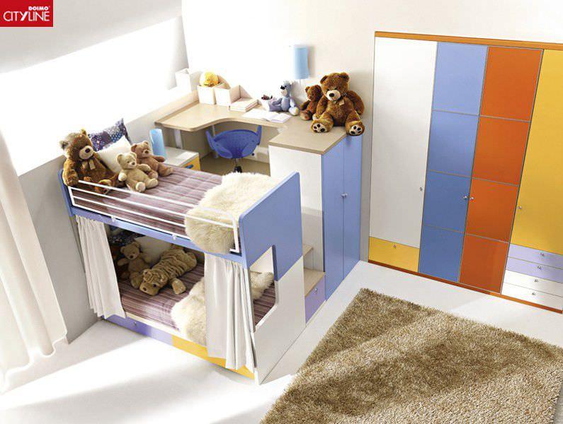 Cameretta Tana Del Lupo.Bunk Bed Single Contemporary With Storage Compartment