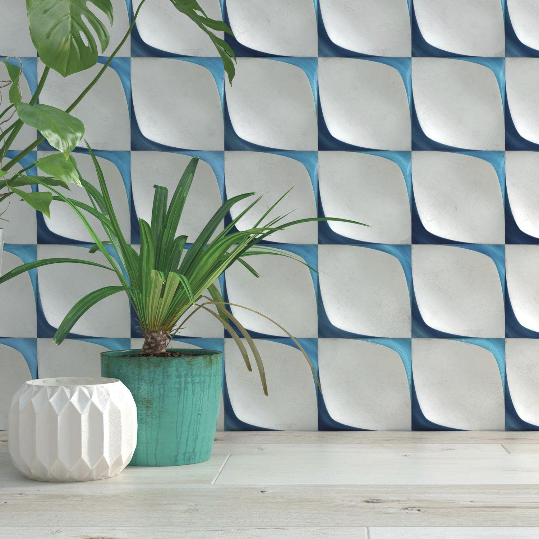 Indoor Tile Wall Ceramic Geometric Pattern Leaf Decor