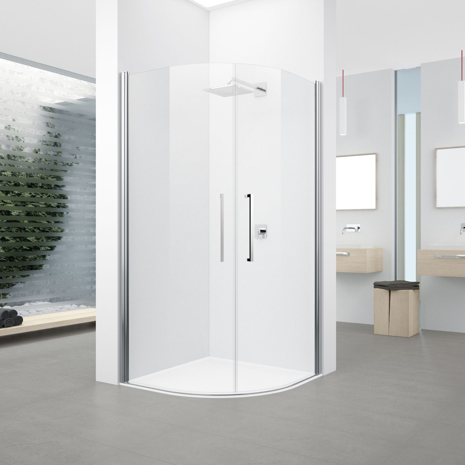 Glass Shower Cubicle Curved With Hinged Door Delight