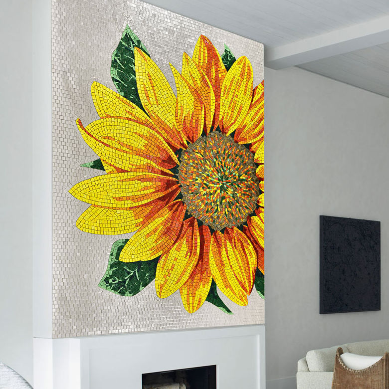 Very Indoor mosaic tile / outdoor / wall / glass - ARTISTIC : SUNFLOWER  FC28