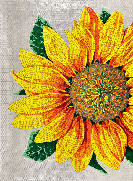 Super Indoor mosaic tile / outdoor / wall / glass - ARTISTIC : SUNFLOWER  PW89