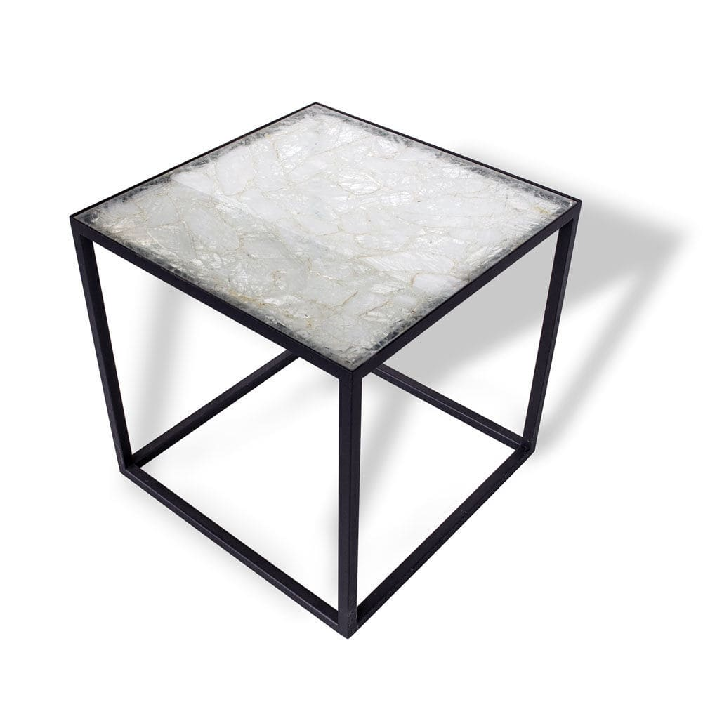Contemporary Side Table Natural Stone Rectangular Outdoor
