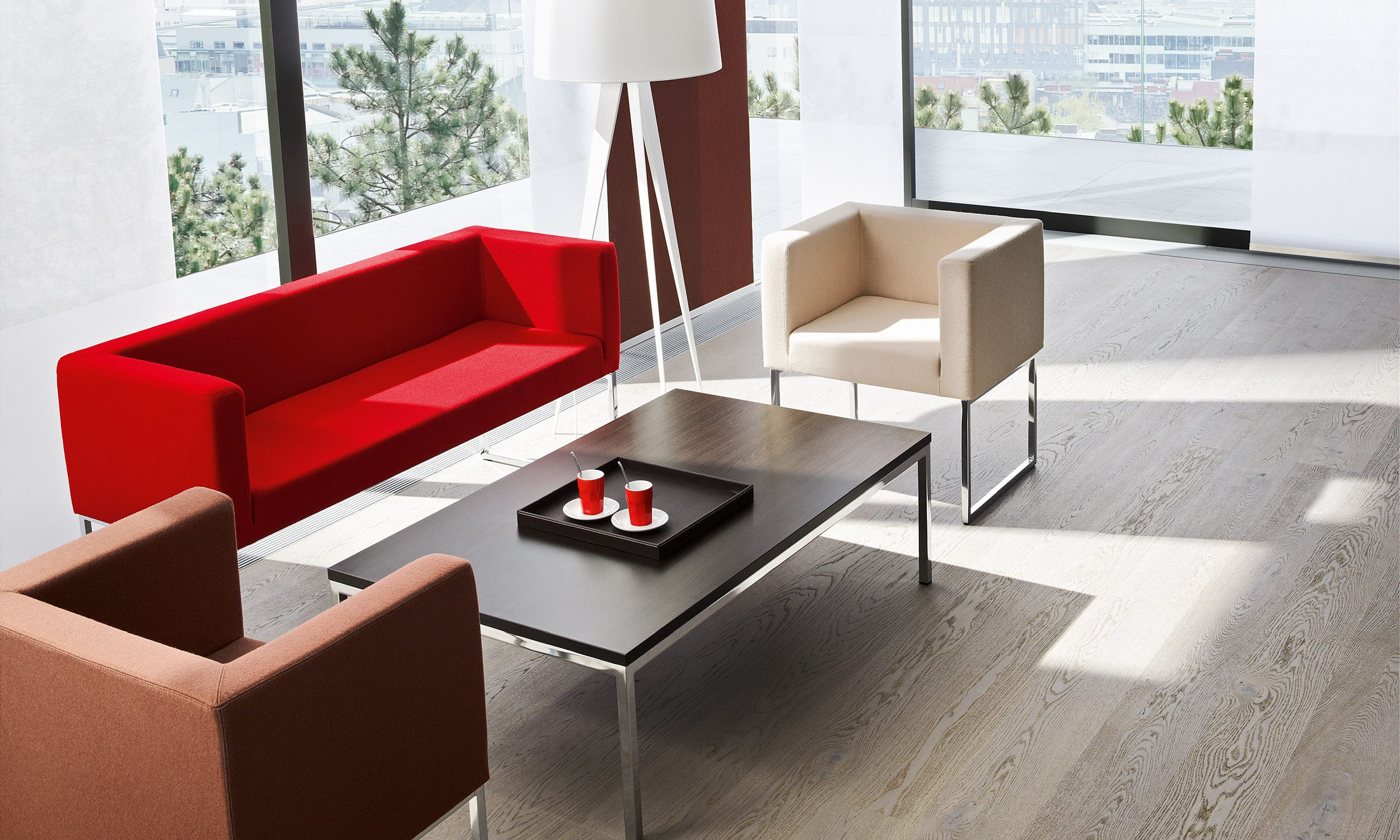 Contemporary sofa / metal / leather / fabric - DALLAS - Nowy ...