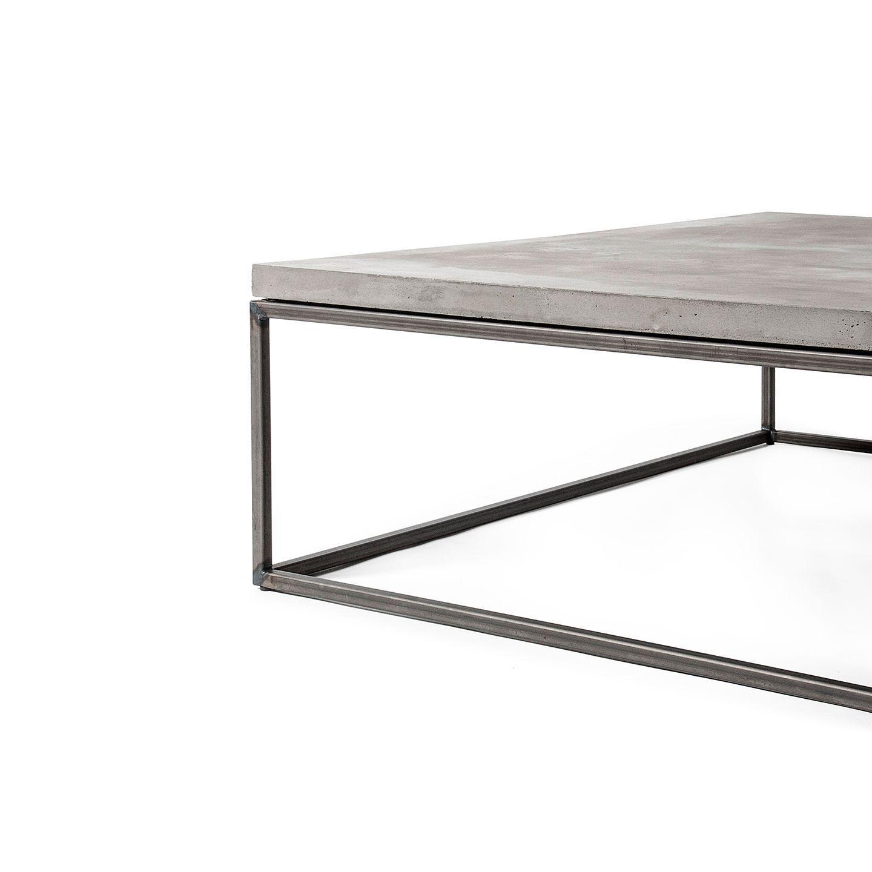 Contemporary Coffee Table Metal Concrete Square