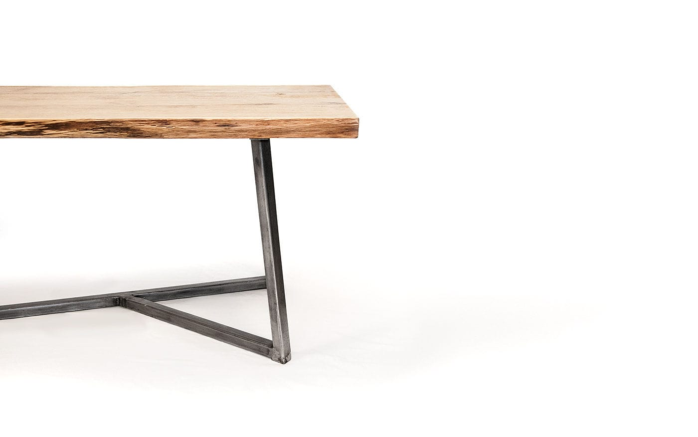 Contemporary Dining Table Oak Steel Rectangular