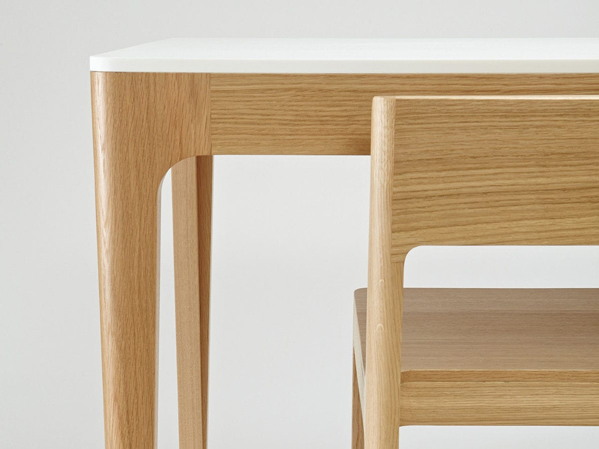 Contemporary Dining Table Corian Oak Lacquered Wood