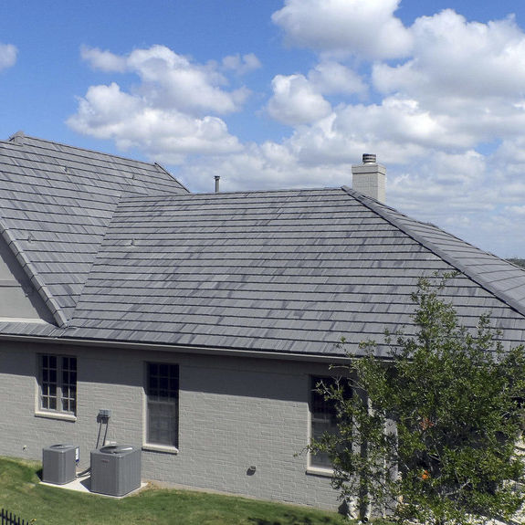 Flat Roof Tile Windsor Lead Crown Roof Tiles Concrete Gray Smooth