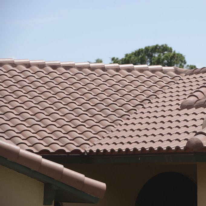 French roof tile - SANIBEL : INDIAN - Crown Roof Tiles - large / concrete /  red