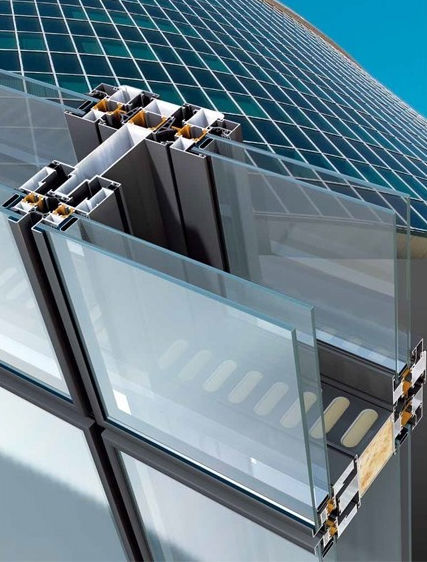 Multilayer curtain wall / aluminum and glass / acoustic / high