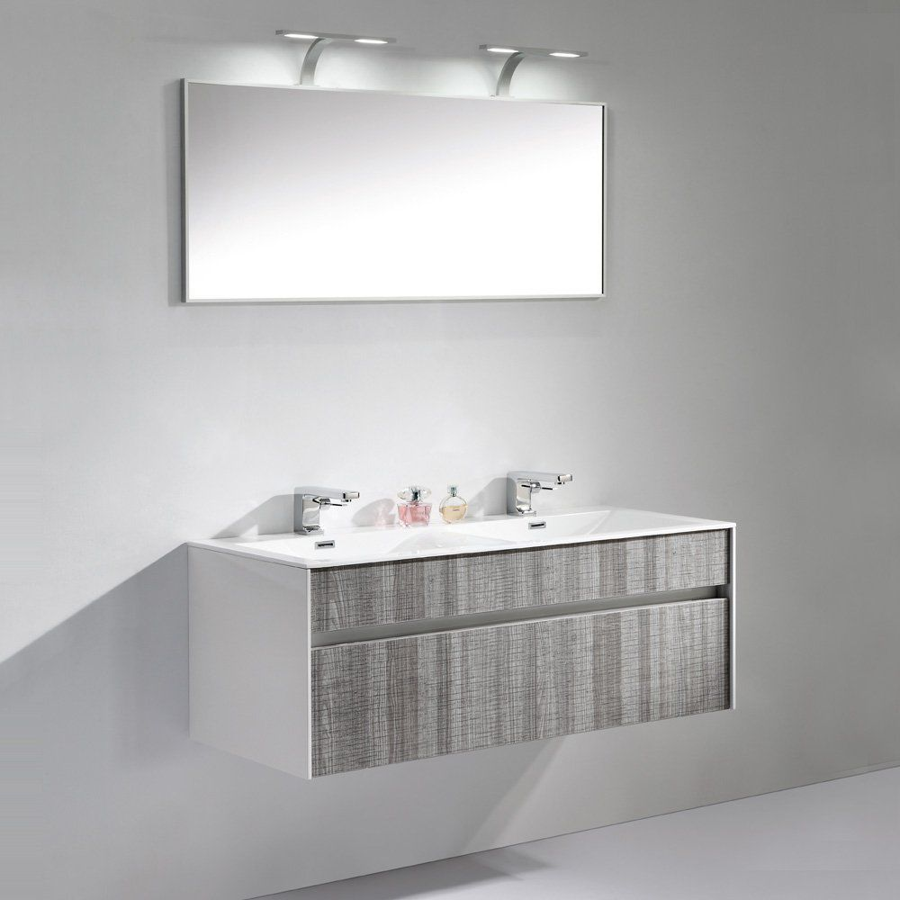 Double Washbasin Cabinet Wall Hung Ash Contemporary