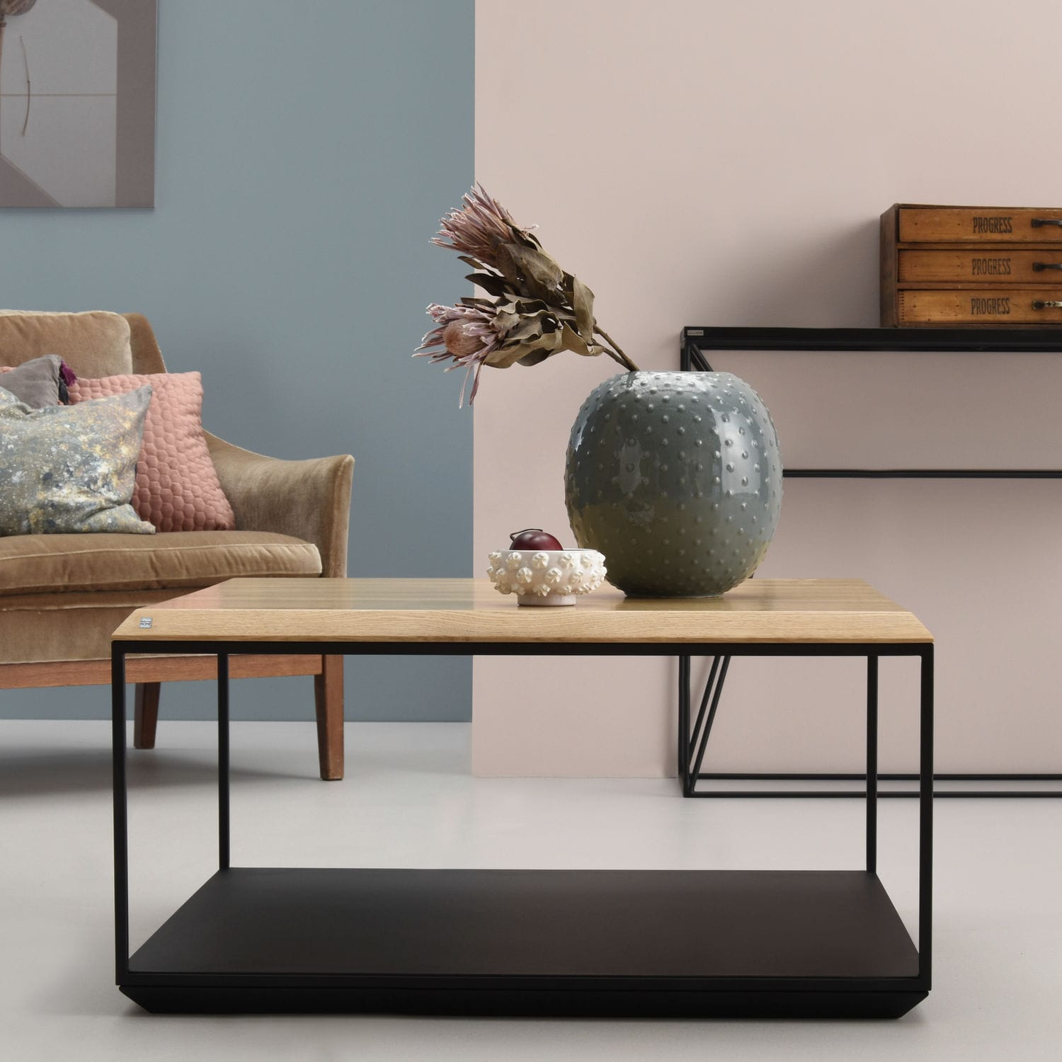 Magnificent Contemporary Coffee Table Oak Steel Square Capsula Gmtry Best Dining Table And Chair Ideas Images Gmtryco