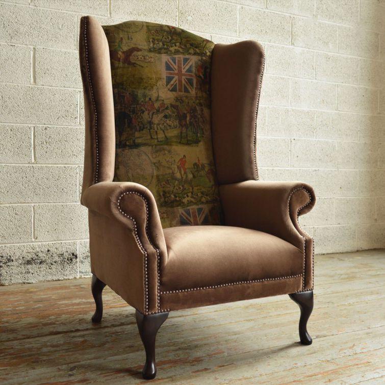 Classic Armchair British Fox Abode, Wing Back Sofa