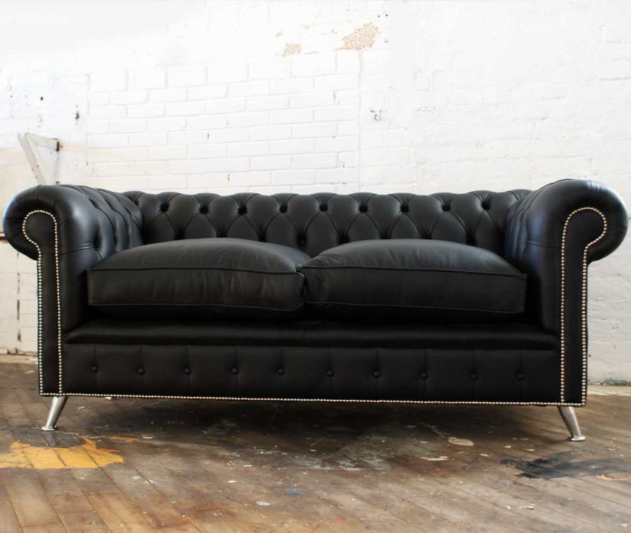 Admirable Chesterfield Sofa Leather Steel 2 Person New York Home Interior And Landscaping Eliaenasavecom