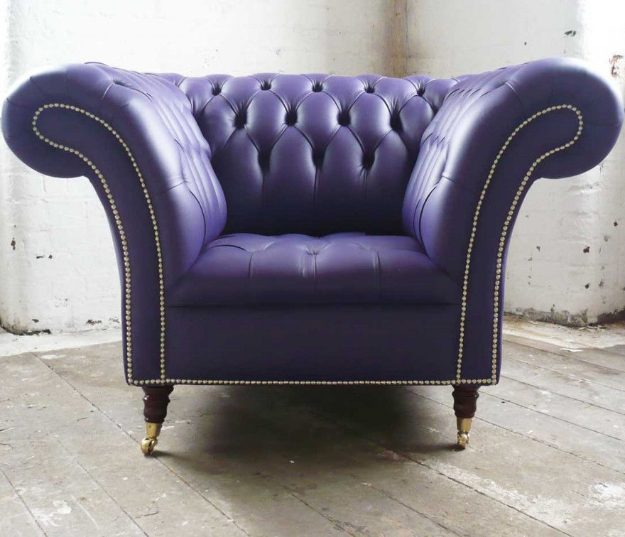 Fabulous Chesterfield Armchair Leather On Casters Violet Squirreltailoven Fun Painted Chair Ideas Images Squirreltailovenorg