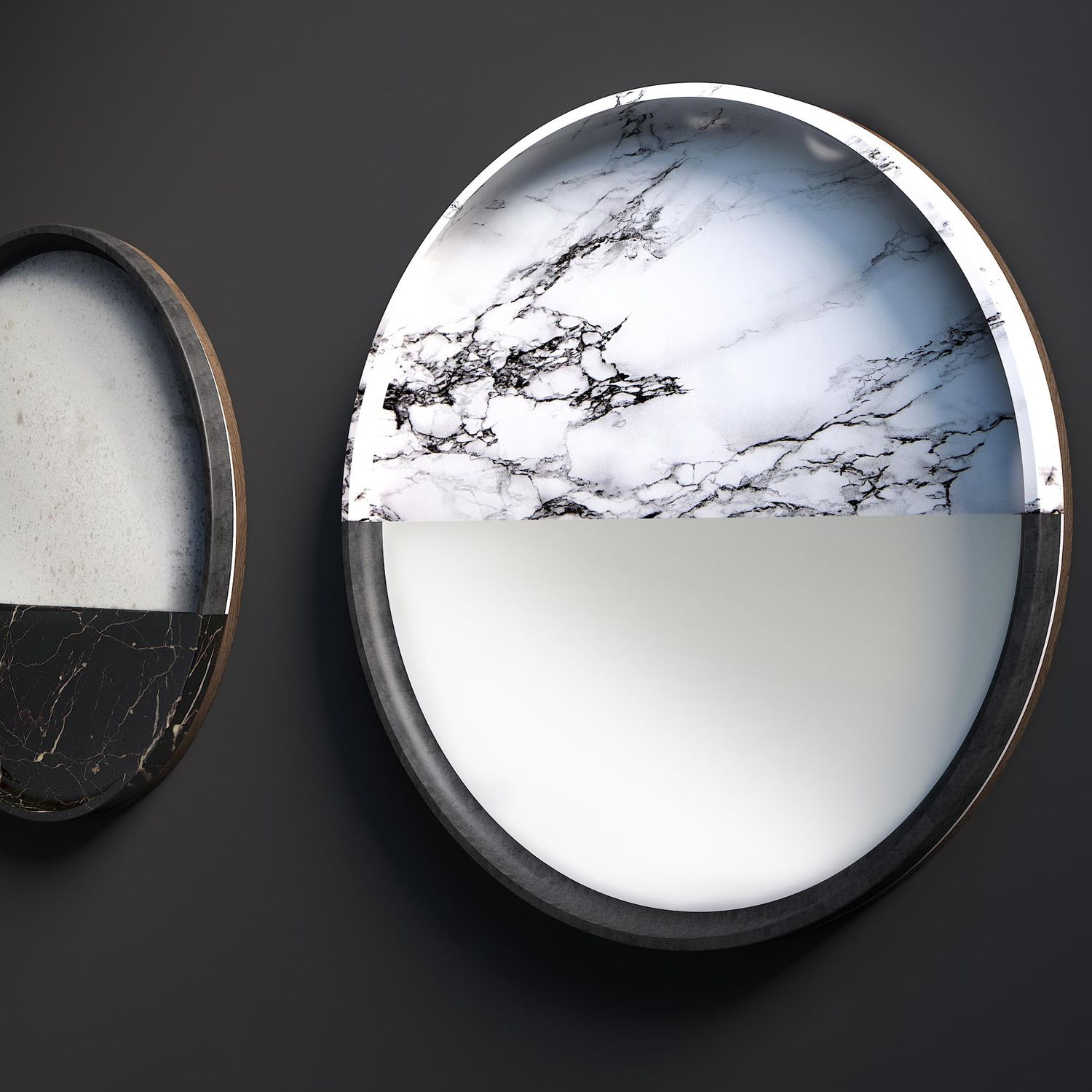 Wall Mounted Mirror Vanity Rossato Srl Contemporary Round Marble