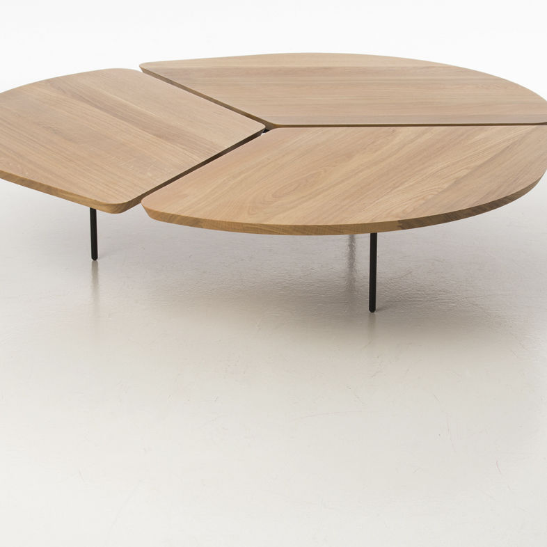 Contemporary coffee table / oak / epoxy / round - MISS