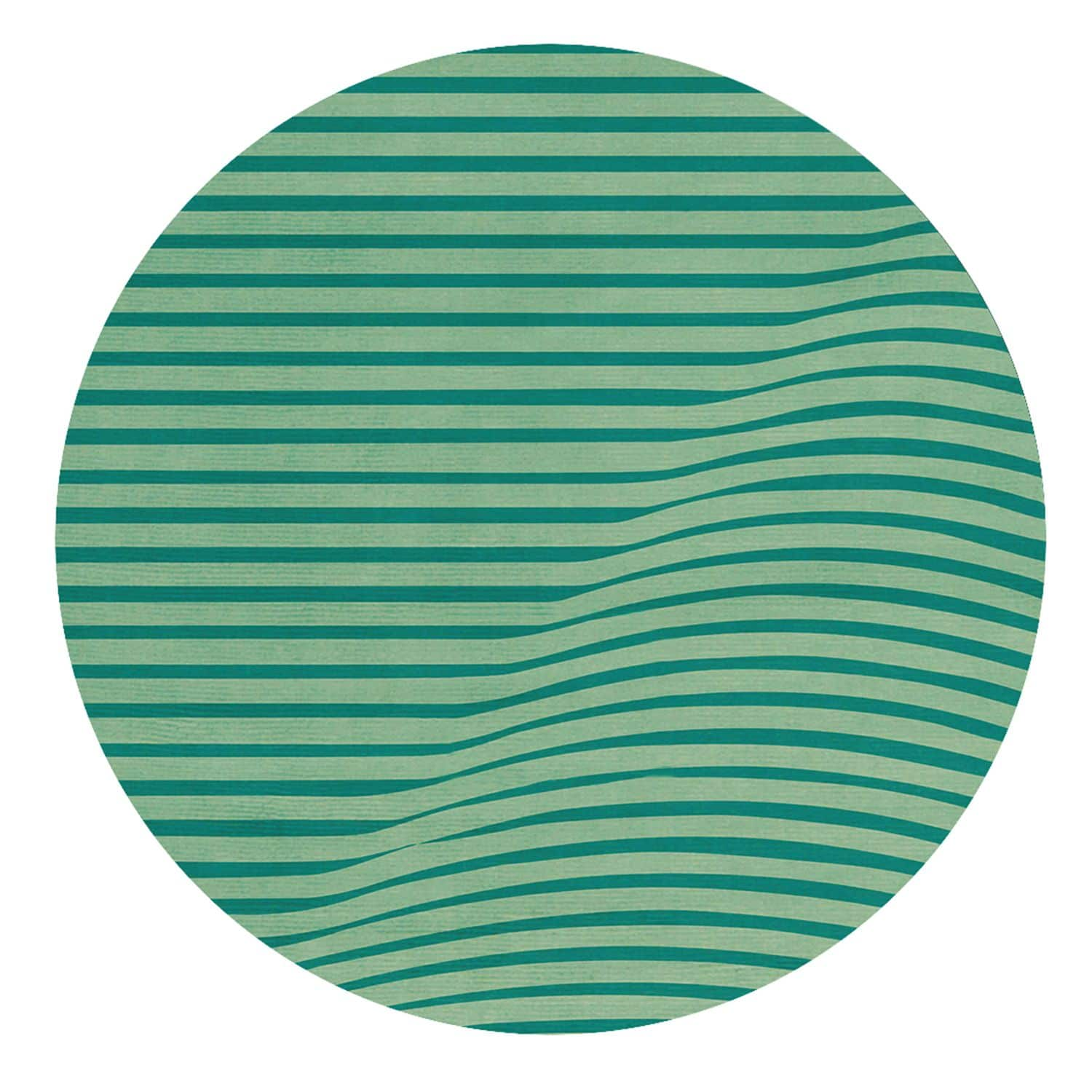 Contemporary Rug Striped Wool Round Anderson