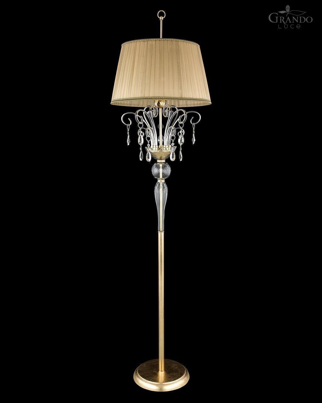 Floor Standing Lamp Contessa Grandoluce Traditional Metal Swarovski Crystal