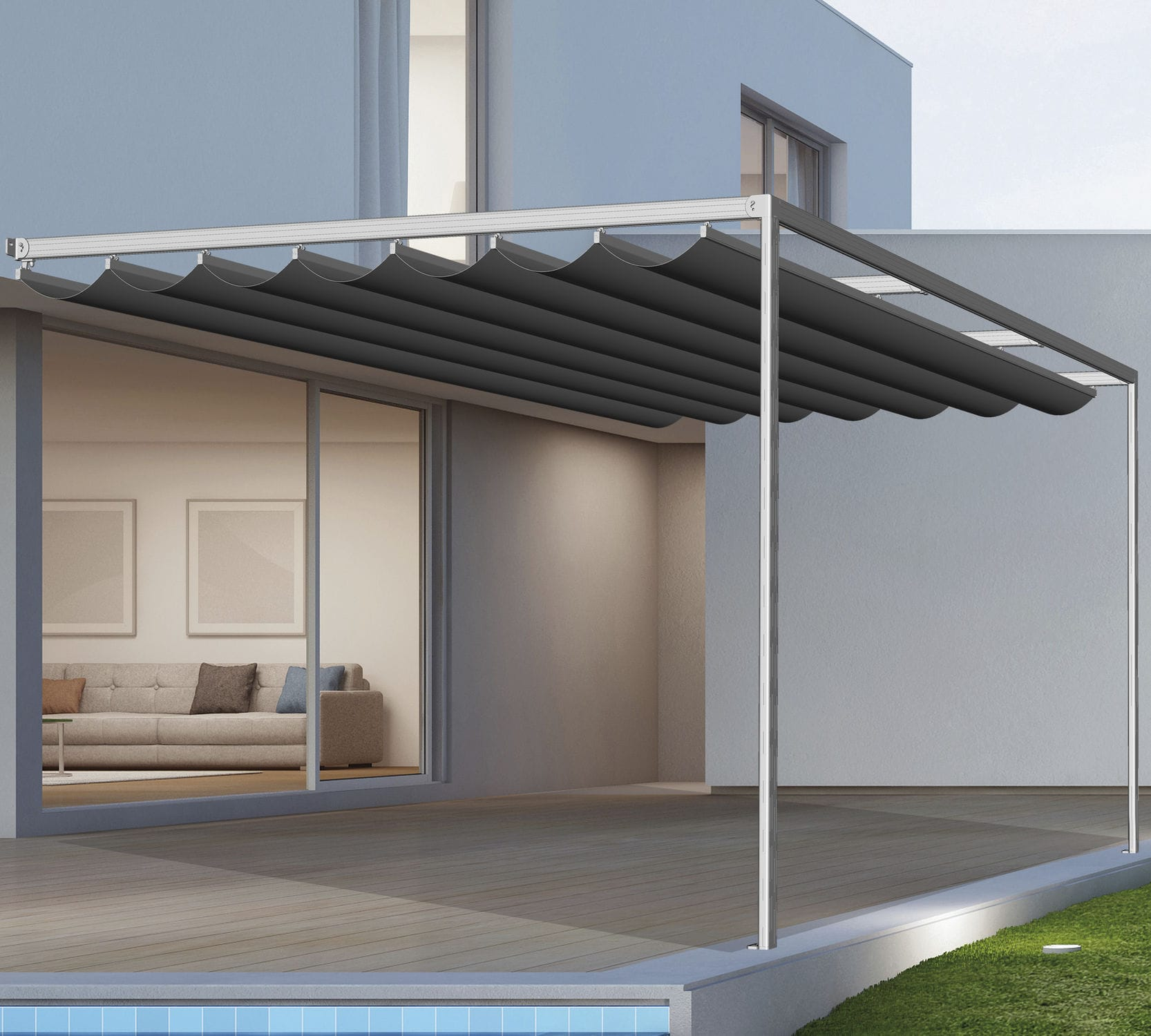 Wall Mounted Pergola Elit Llaza World S A Metal Fabric Canopy Commercial