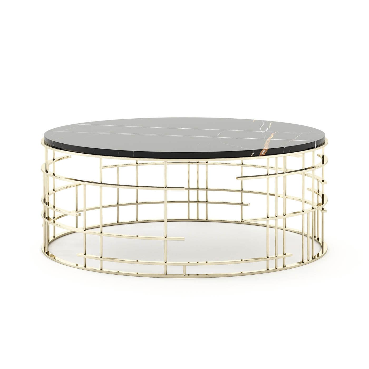 Picture of: Contemporary Coffee Table Mercy Laskasas Wooden Stainless Steel Base Round
