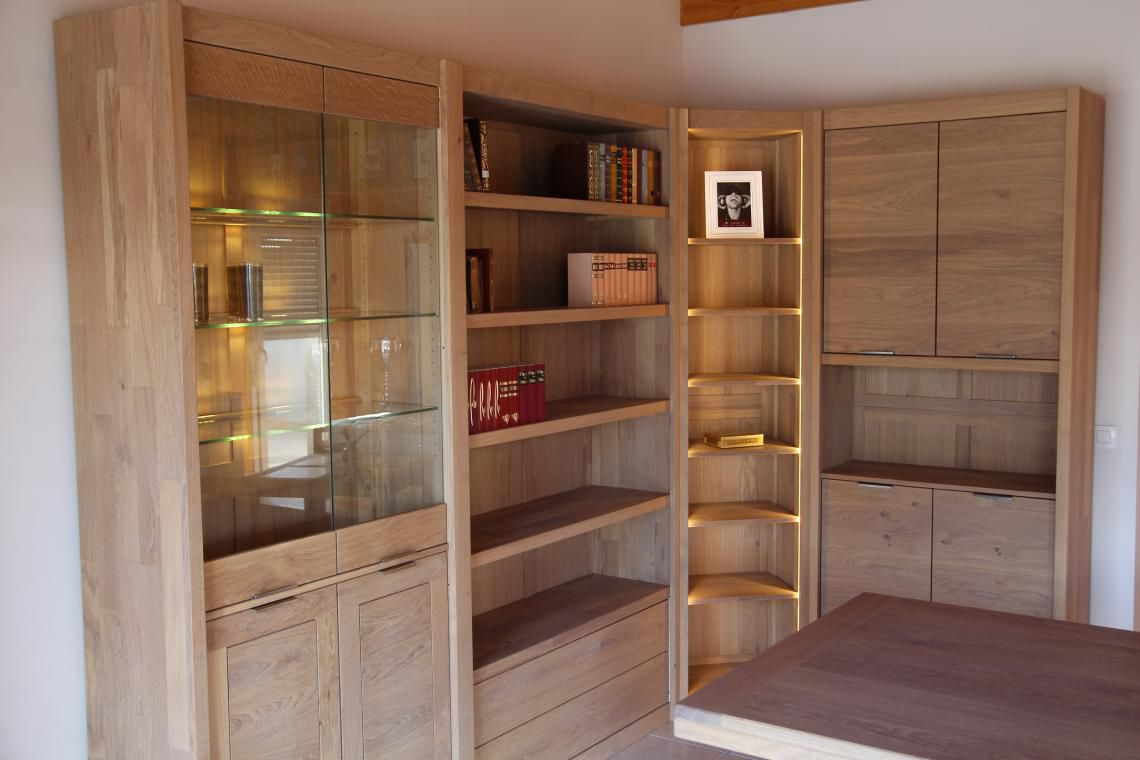 Corner Bookcase Contemporary Oak Solid Wood Delorme