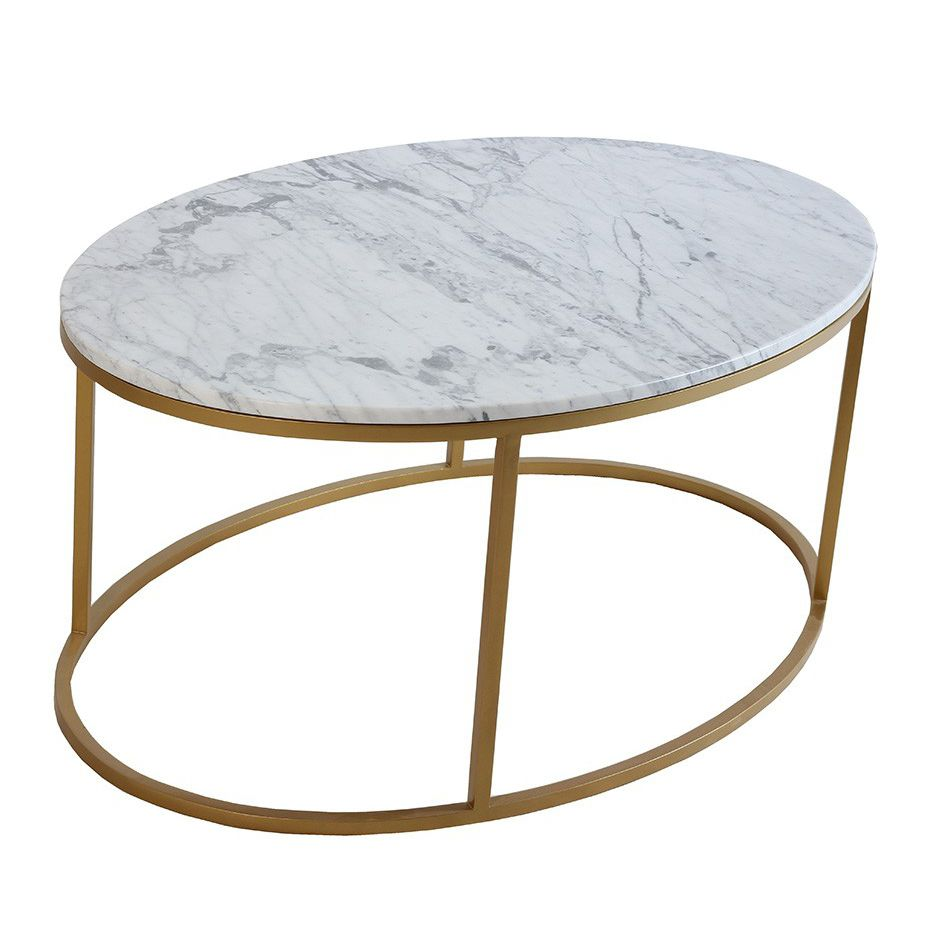 Excellent Contemporary Coffee Table Metal Marble Oval Owalny Evergreenethics Interior Chair Design Evergreenethicsorg