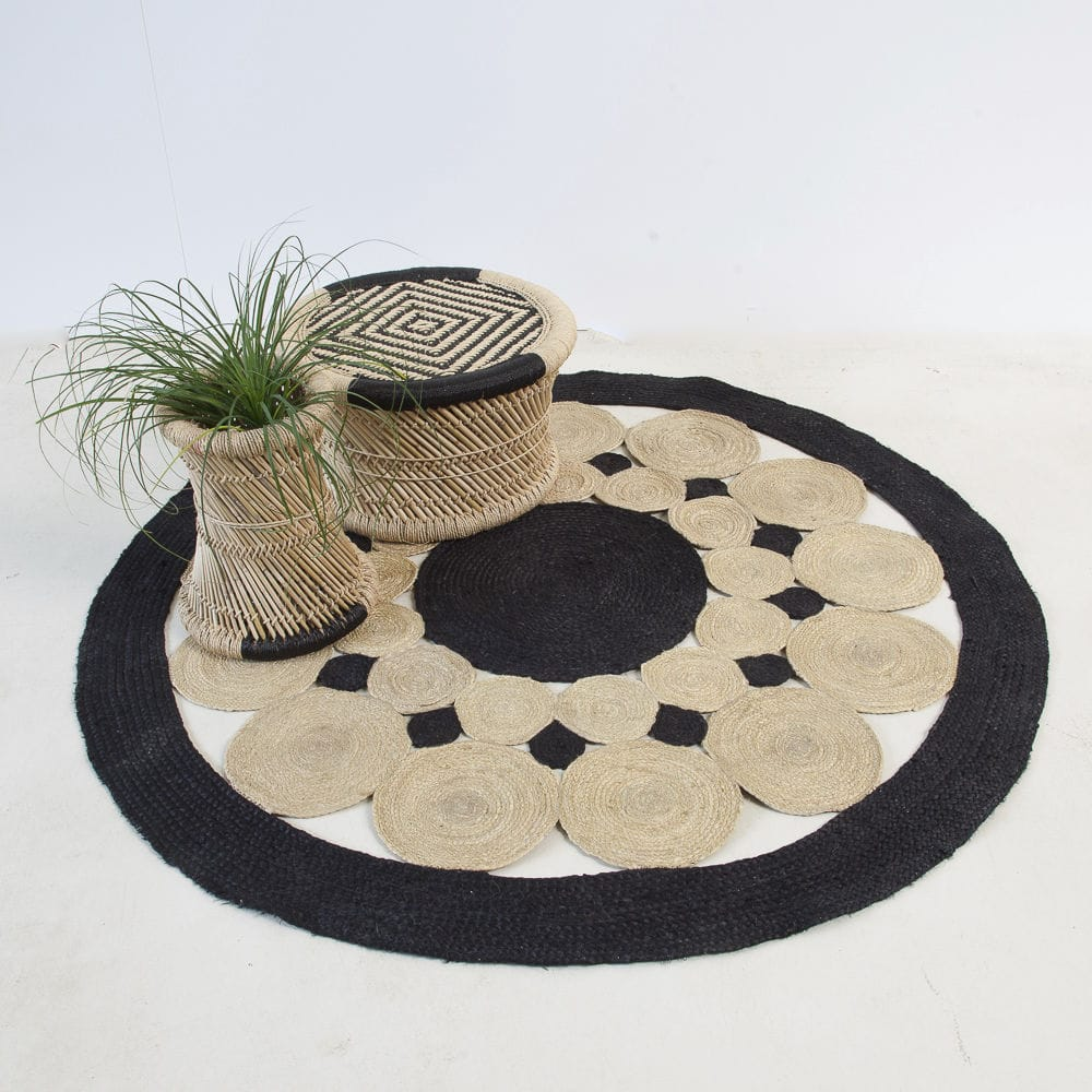 Contemporary Rug Geometric Pattern Jute Rectangular